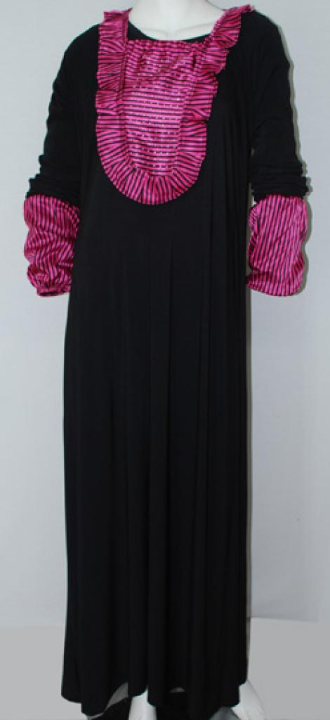 Traditionel egyptisk abaya med satin accenter ab504