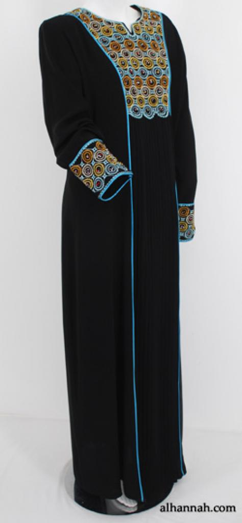 Al Karam Floral Embroidered Pull Over Abaya ab538
