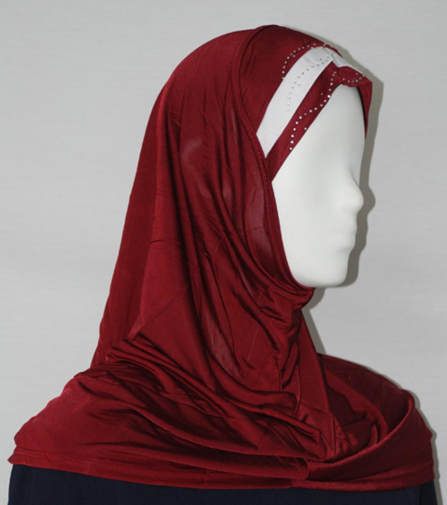 Striped Al Amirah Hijab with Beaded Underscarf hi1689