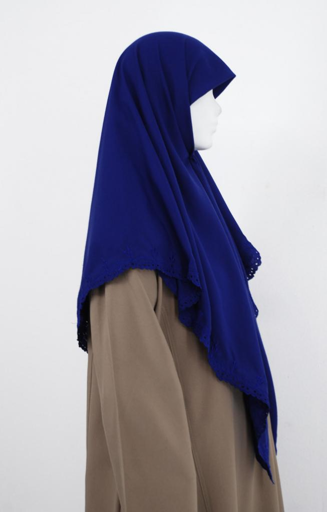 Blomsterbroderte Solid Color Hijab hi1988