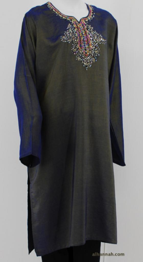 Iridescent Satin Embroidered Tunic st580