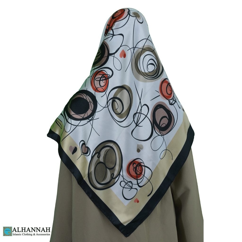 Contemporary Swirls Turkish Satin Hijab hi2080