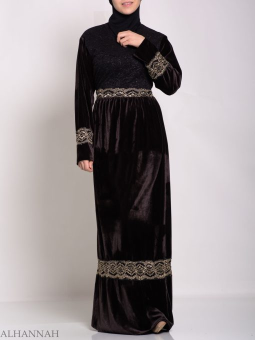 Embroidered Velvet Thobe th763 (6)