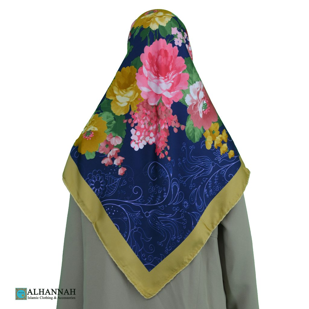Turkish Satin Floral Hijab hi2088
