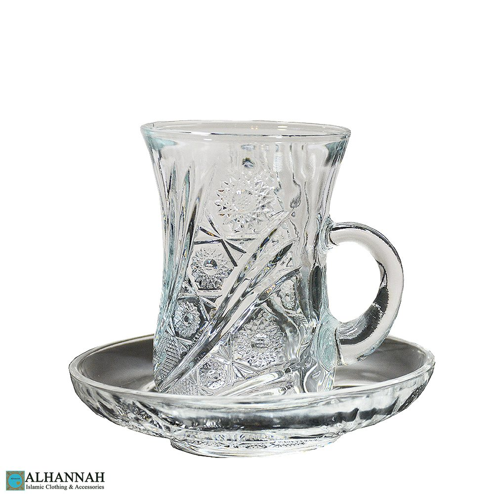 Turkish Cut Crystal Tea Set | 6 Cups & Saucers gi691