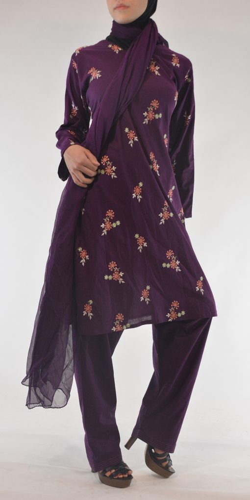 Areej Salwar Kamees Floral Swirls Embroidery - Comfortable Soft Cotton SK1236 Purple 1