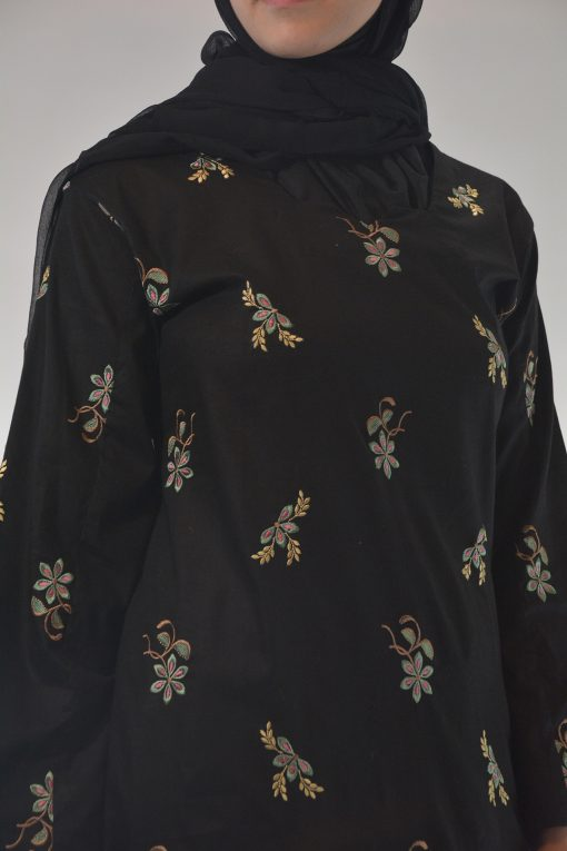 Lamees Salwar Kamees Butterfly Floral Pattern - Comfortable Soft Cotton SK1237 Black closeup