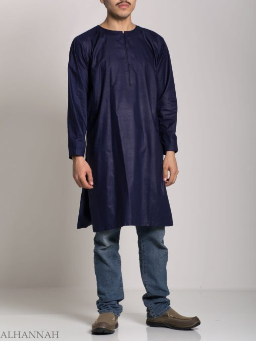 Menns Solid Color Kurta Shirt med Button Up Front - Myk bomull ME718 (6)