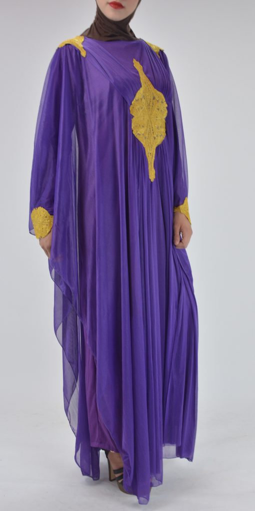 Premium Chiffon Embroidered Multi-Layer Abaya Multicolored ab693 4