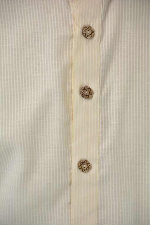 Striped Long Cotton Kurta Shirt with Wooden Buttons Cream (2)