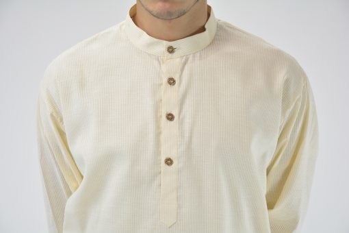 Striped Long Cotton Kurta Shirt with Wooden Buttons Cream 3