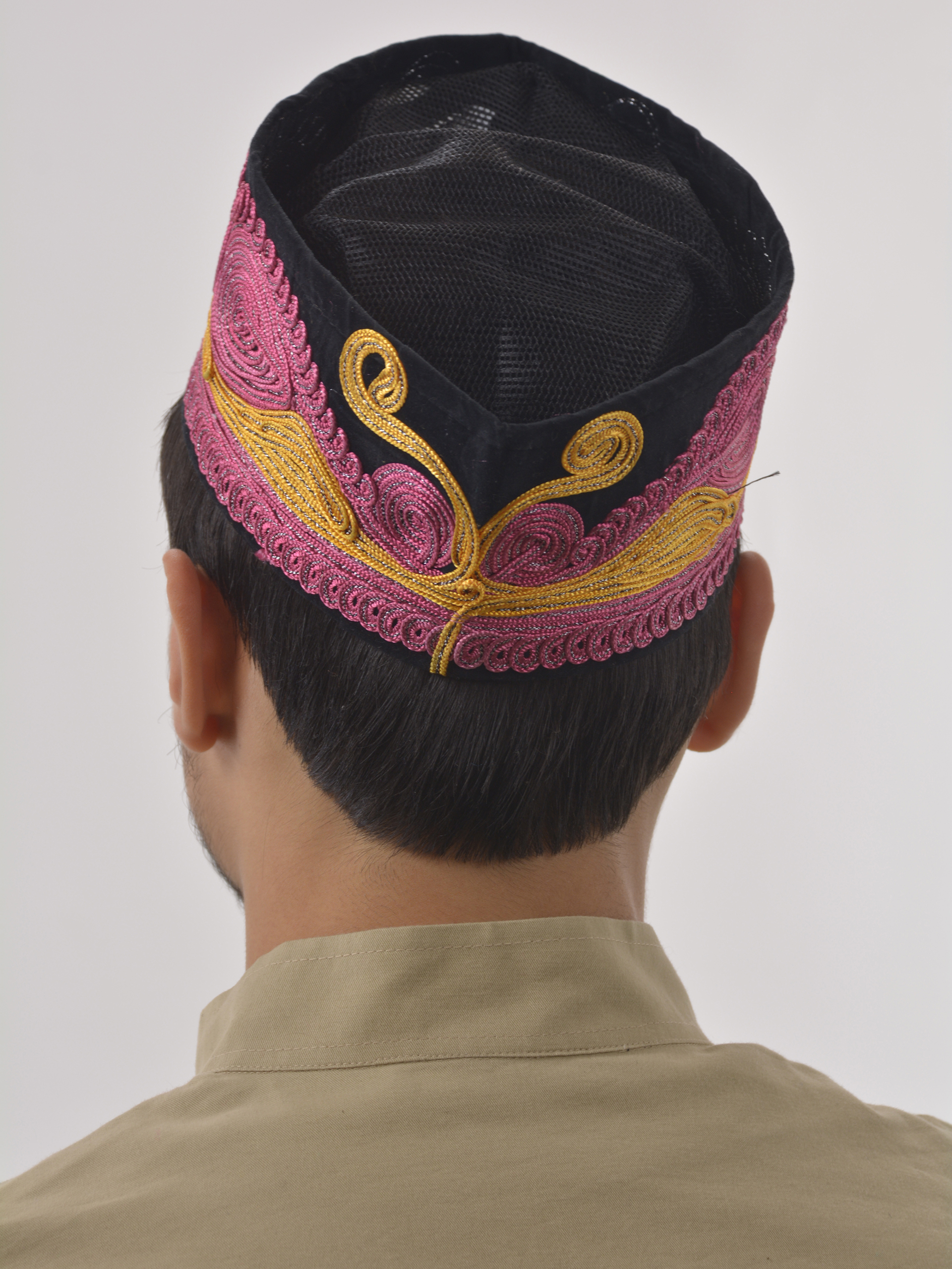 Pink and Gold Swirls Embroidered Mesh Kufi | ME742