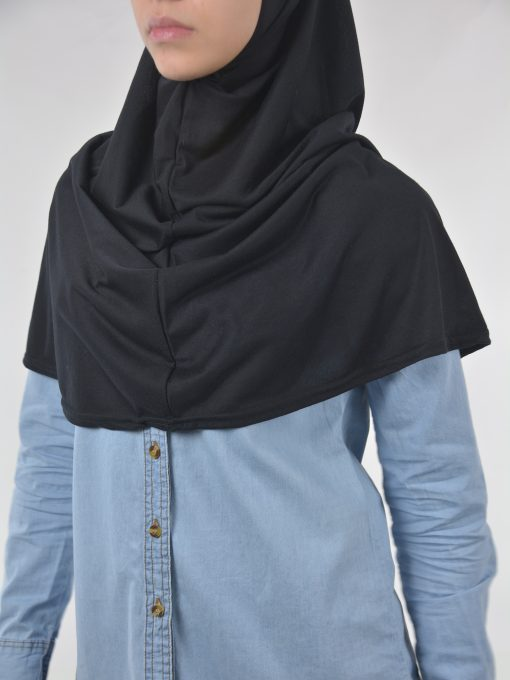 Solid Color Einteiliges Long Al-Amira Hijab HI2115 Schwarzes 2 (1)