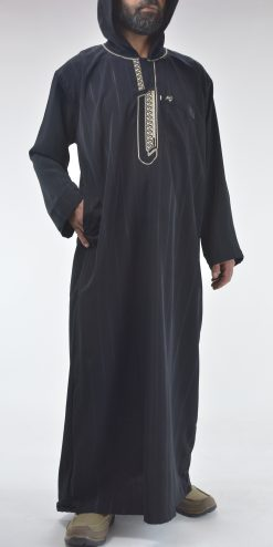 Striped Hooded Embroidered Velcro Moroccan Thobe