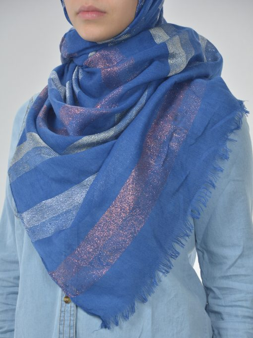 Striped Multicolored Shayla Hijab Blue