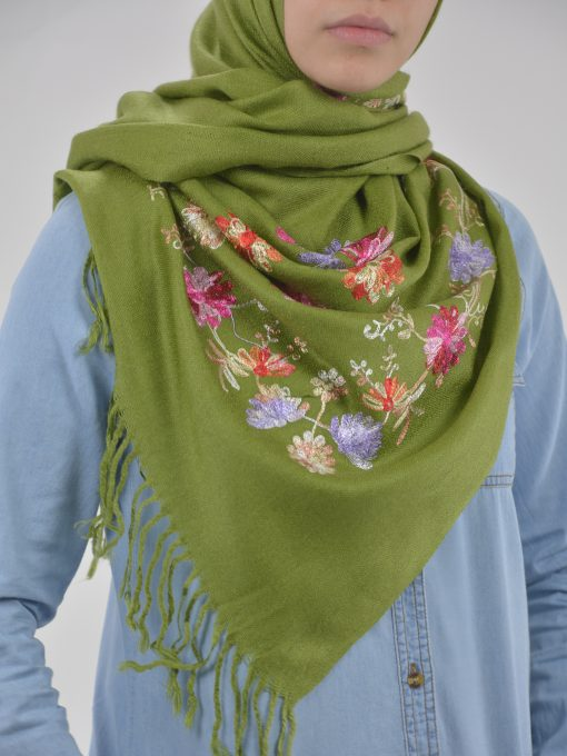 Tasseled Floral Sprouts Shayla Wrap Hijab HI2127 (4)