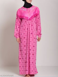 Checkered Floral Embroidered Cotton Nightgown NG107 (3)