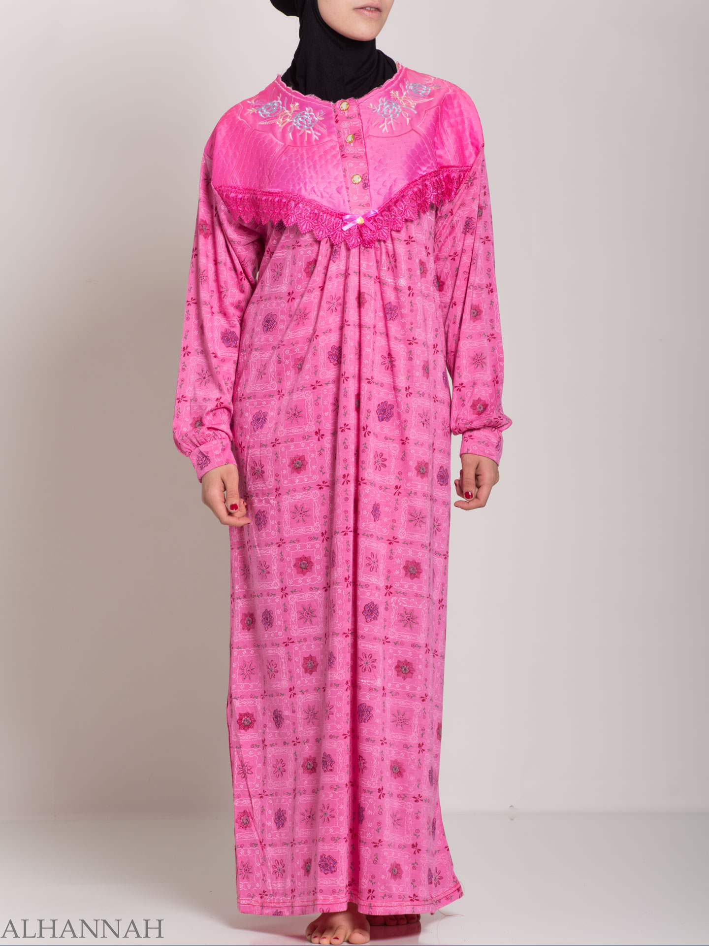 Checkered Blomsterbroderte Cotton Nightgown | NG107