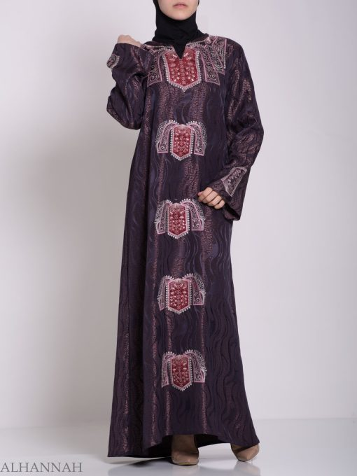 Embroidered Glowing Swirled Jordanian Abaya ab705 (11)