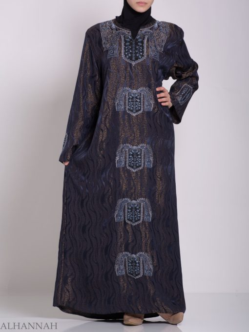 Embroidered Glowing Swirled Jordanian Abaya ab705 (4)