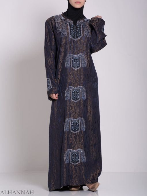 Embroidered Glowing Swirled Jordanian Abaya ab705 (5)