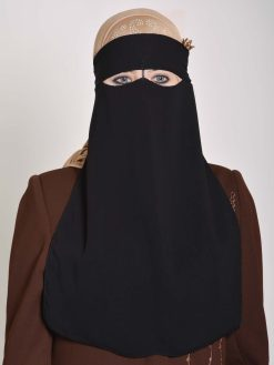 Saudisk stil Solid Color One-layer Lang Niqab NI158 (1)