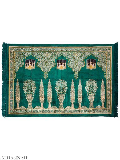Floral Pillars Kaaba Motif Multi Person Prayer Rug Green