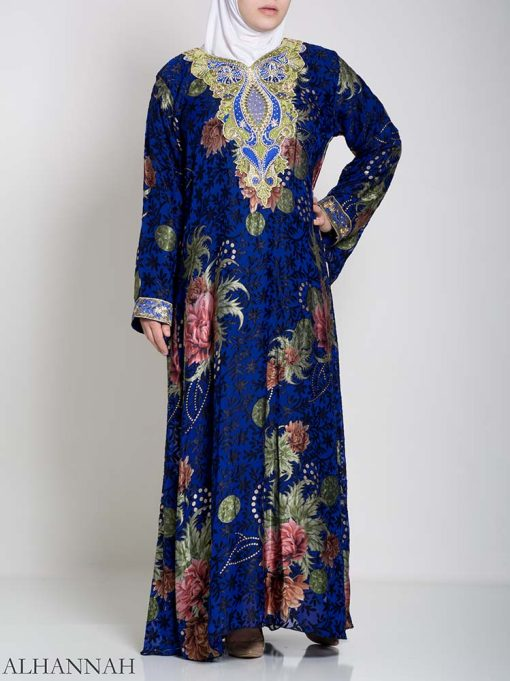 Paisley Floral Abstract Abaya ab709 (3)