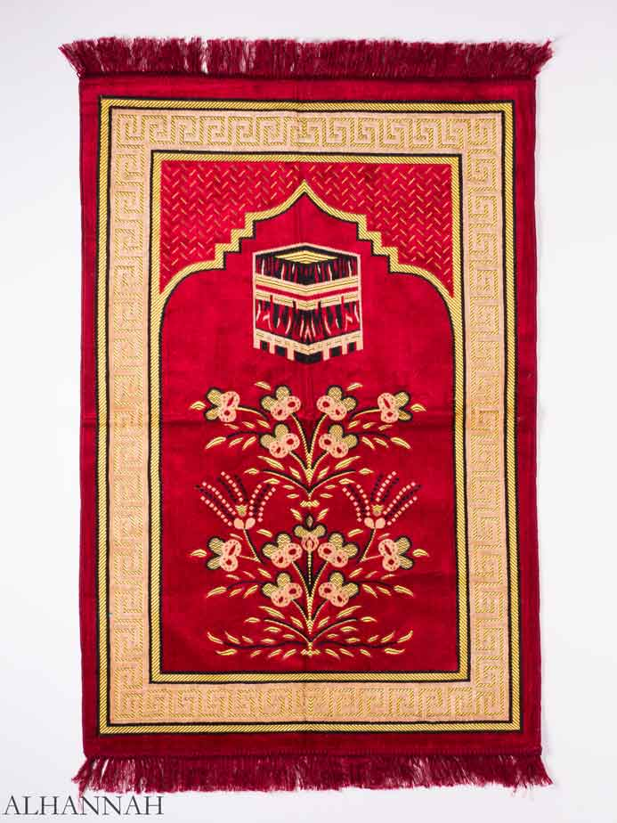 Red Sprouting Floral Kaaba Motif Prayer Rug | ii1154