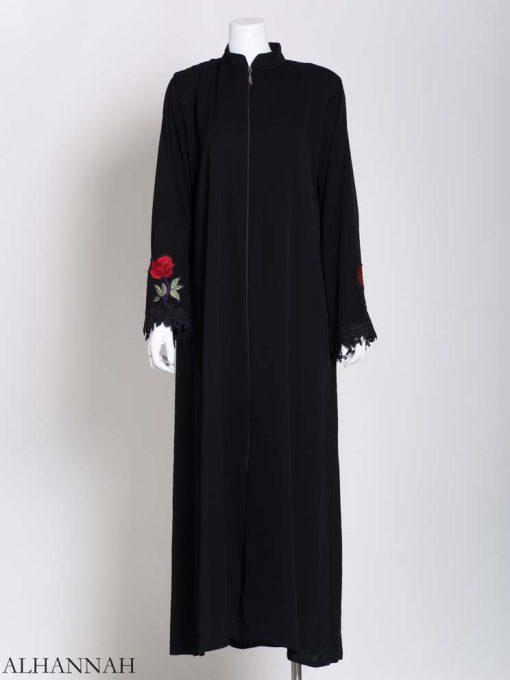 Womens Abaya Sprouted Roses Plain Black