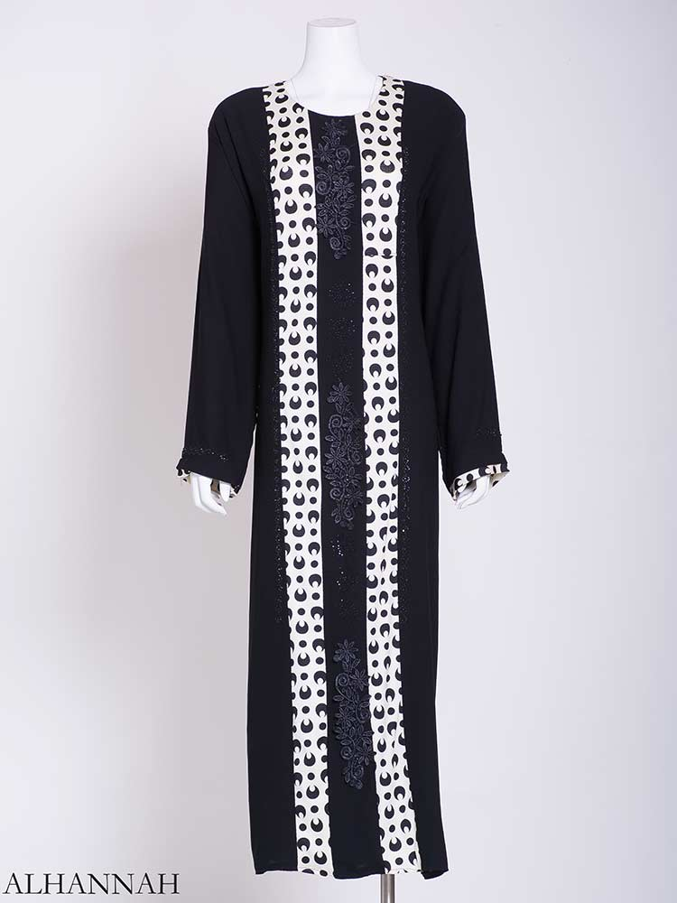 Abstract Looped Polka Dot Floral Embroidered Abaya | ab722