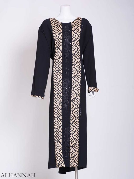 Abstract Looped Polka Dot Floral Embroidered Abaya ab722 (2)