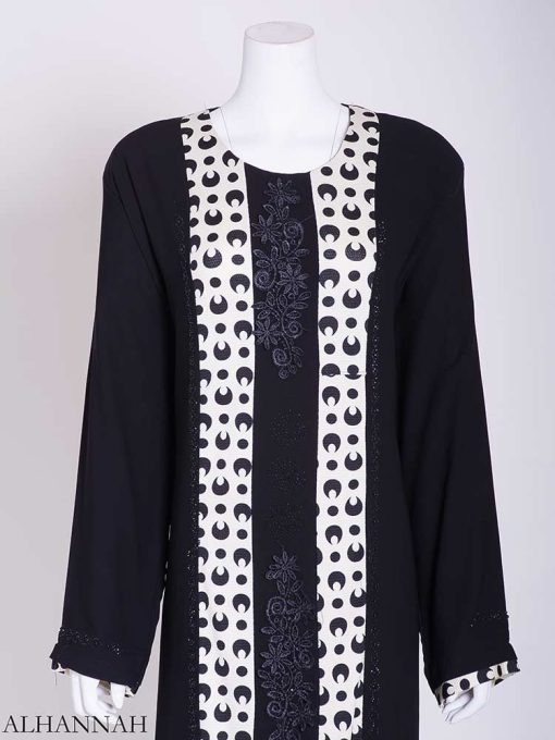 Abstract Looped Polka Dot Floral Embroidered Abaya ab722 (3)