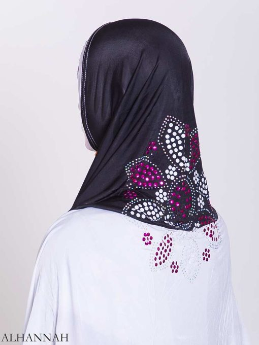 Floral Rhinestone Sequined Shoulder Length Al-Amira Hijab hi2169 (1)