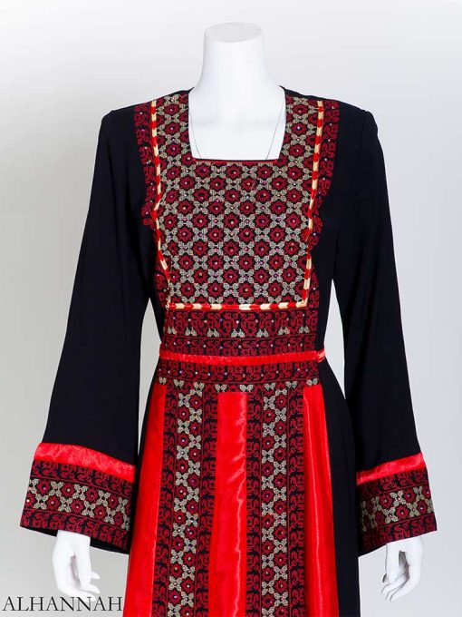 Red Square Satin Embroidered Palestinian Fellaha Thobe (2) th802