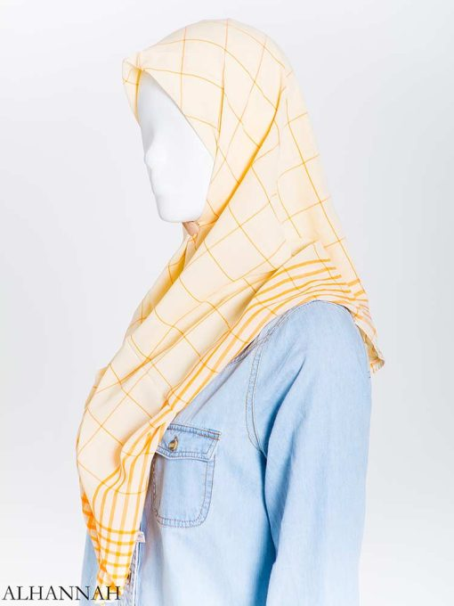 Solid Color Plaid Square Hijab hi2167 (1)