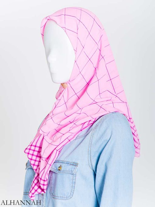 Solid Color Plaid Square Hijab hi2167 (13)