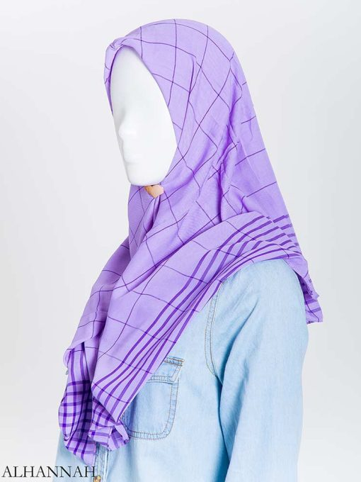 Solid Color Plaid Square Hijab hi2167 (14)
