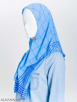 Jednolity kolor Plaid Square Hijab hi2167 (15)