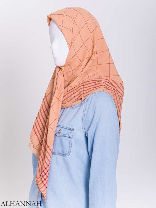 Solid Color Plaid Square Hijab hi2167-2 (2)