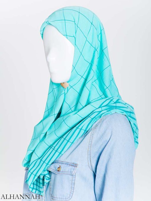 Solid Color Plaid Square Hijab hi2167 (5)