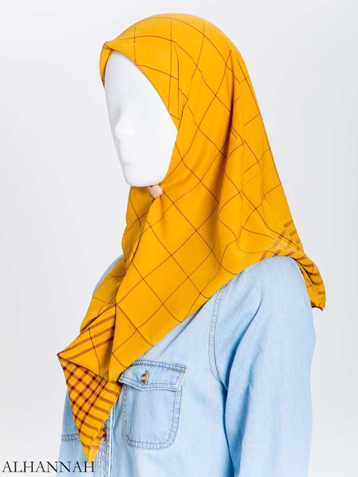 Solid Color Plaid Square Hijab hi2167 (6)