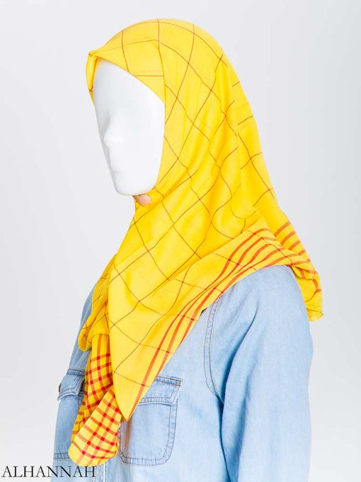 Solid Color Plaid Square Hijab hi2167 (7)