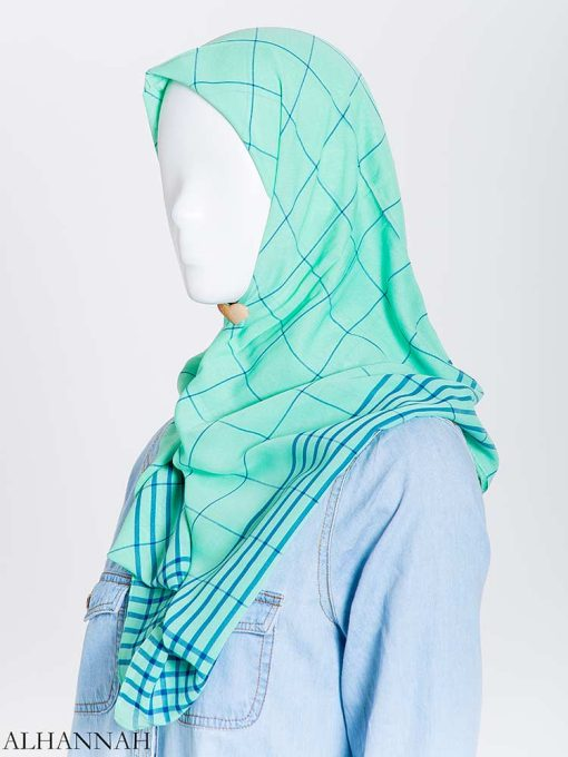 Solid Color Plaid Square Hijab hi2167 (9)