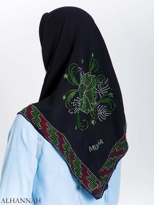 Sprouting Floral Vines Green Rhinestone Square Hijab hi2168