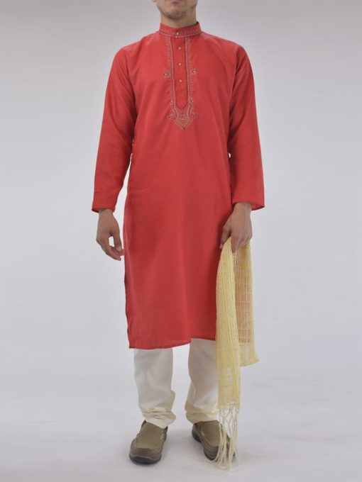 TRADITIONAL COTTON KURTA PAJAMA SUIT WITH FRONTAL EMBROIDERY ME720 (1)