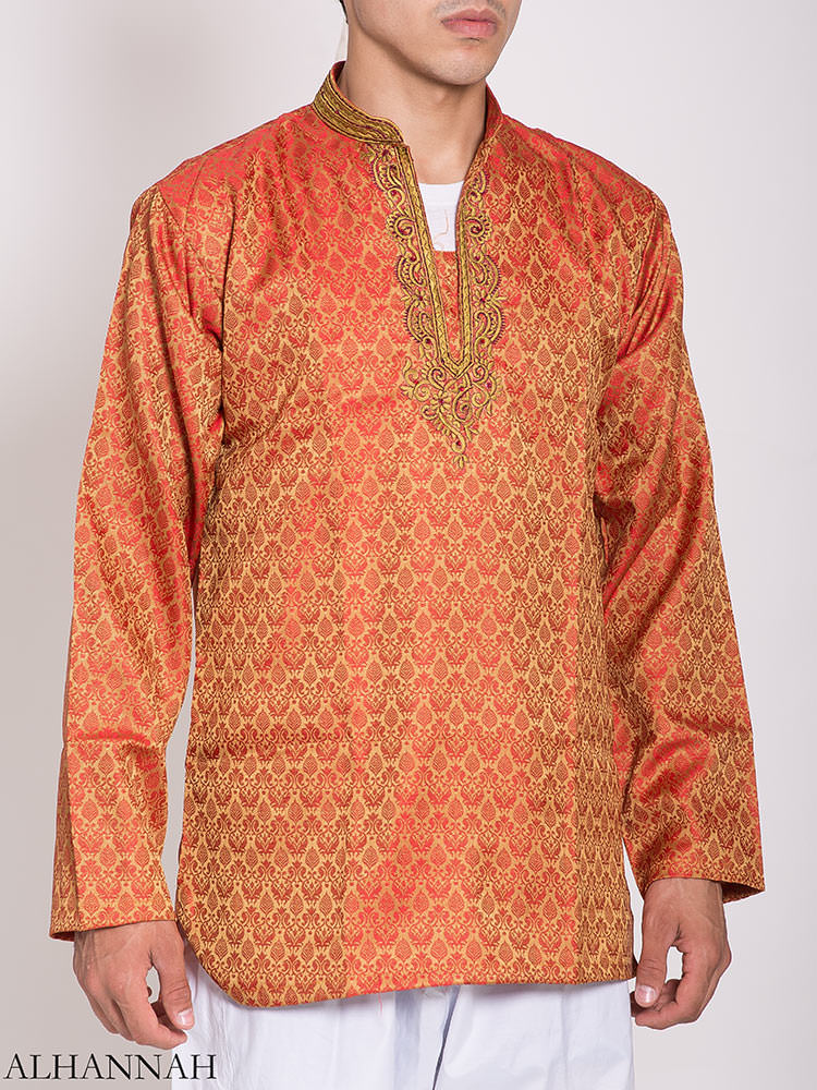 Damasco bordado Jacquard Kurta | me780