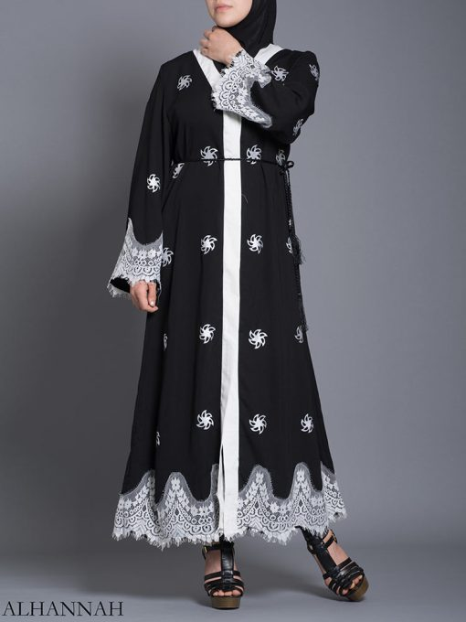 Blomstret kant-lined Button-up Abaya ab729 (1)