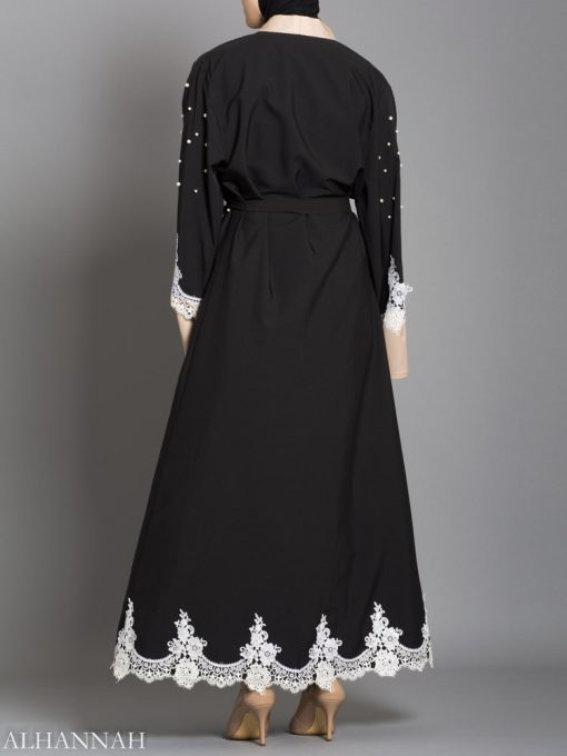BLACK ABAYA WITH SATIN AND LACE TRIM AB736 back