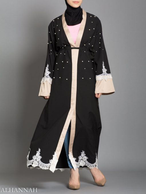 BLACK ABAYA WITH SATIN AND LACE TRIM AB736 opening
